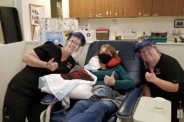 Recovered COVID-19 patient Alissa Kelli Sarbiewski donates plasma at Cascade Regional Blood Services